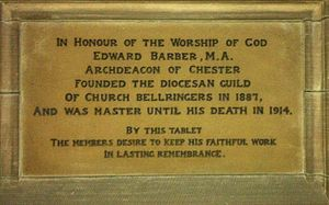 Edward Barber (priest) - Memorial to Edward Barber in Chester Cathedral