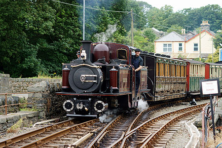 Merddin Emrys, a Fairlie locomotive operated by the Ffestiniog Railway in Wales, seen here at Minffordd