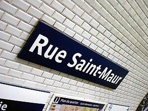 Rue Saint-Maur (Paris Métro) - Image: Metro de Paris Ligne 3 Rue Saint Maur 03
