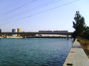Adana Metro - Metro train crossing the river