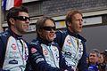 Meyrick, Fernández, and Primat Le Mans drivers parade 2011.jpg