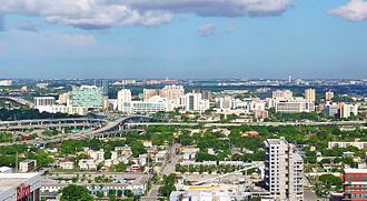 Health District (Miami) - View westward of the Health District, with the Midtown Interchange foreground and Miami International Airport right-background