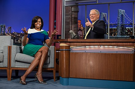 Letterman interviewing Michelle Obama in 2012 Michelle Obama on the Late Show with David Letterman.jpg