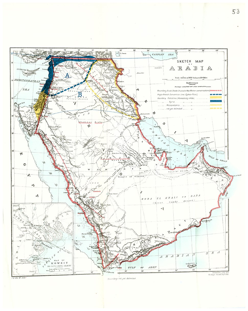 Middle East in 1921, UK Government map, Cab24-120-cp21-2607