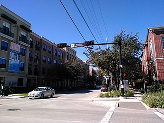Midtown, Houston - The intersection of Bagby and McGowen streets in western Midtown