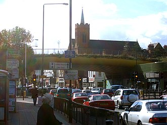 Mile End - The Green Bridge adjacent to Mile End tube station in 2004