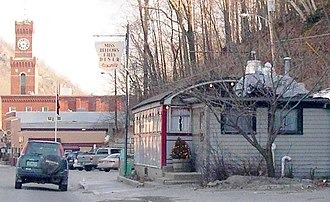 Bellows Falls, Vermont - The Miss Bellows Falls Diner, with the Rockingham Town Hall in the background