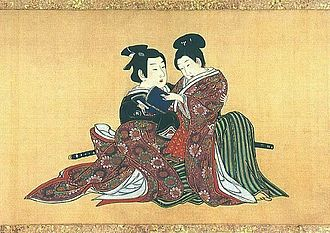 Kagema - A kagema sits upon his elder patron's lap Miyagawa Isshō Spring Pastimes, 1750
