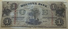 Molson's Bank Banknote, 1855, Papier - Château Ramezay - Montreal, Kanada - DSC07551.jpg