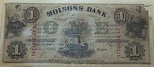 Molson Bank - Molson's Bank banknote, 1855