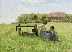 Jan Monchablon - Lovers at the Well (date unknown)