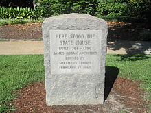 Monument marking site of original South Carolina State House, designed and built from 1786 to 1790 by James Hoban and burned by the Union Army in 1865