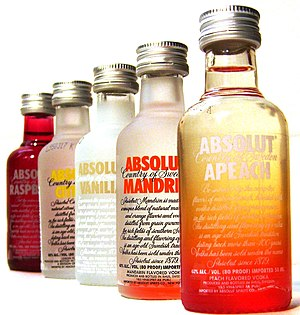 Bottles of flavoured ABSOLUT vodka.