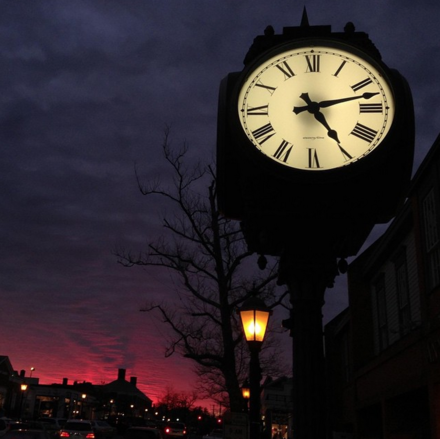 Moreno Clock located on Elm Street where it meets with South Avenue in New Canaan, Connecticut.