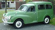 Later Morris Minor Van with aftermarket rear side windows