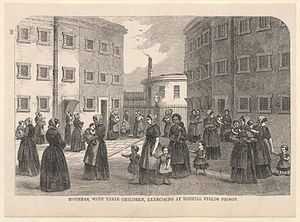 Tothill Fields Bridewell - Mothers with their children, exercising at Tothill Fields Prison in the 1860s