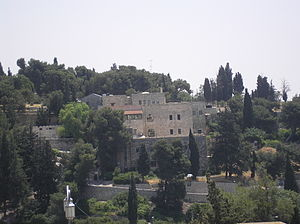 Jerusalem University College - Jerusalem University College against the background of the trees on Mount Zion Cemetery (2009)