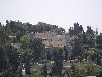 Jerusalem University College - Jerusalem University College against the background of the trees on Mount Zion Cemetery (2009)
