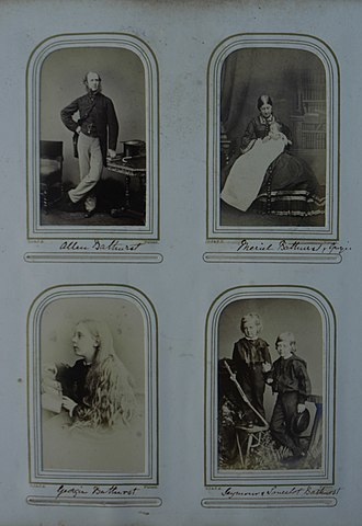 Allen Bathurst, 6th Earl Bathurst - Bathurst's wife and children, circa 1870 and 1880.
