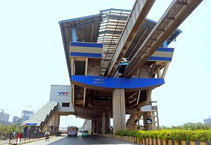 Bhakti Park monorail station - The station as seen from street level