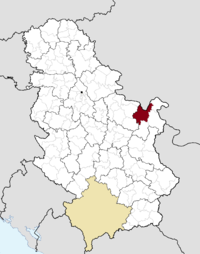 Location of the municipality of Majdanpek within Serbia