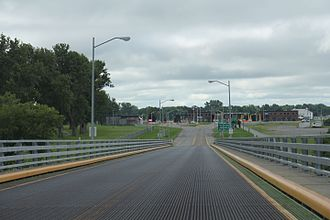 New York State Route 812 - The northern terminus looking south from the Odgensburg-Prescott International Bridge