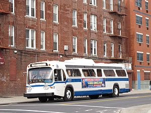Bergen Street Line - A museum bus on the B65 route lays over at the eastern terminus in Ocean Hill.