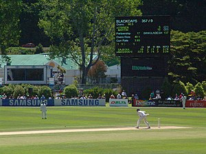 Bangladeshi cricket team in New Zealand in 2007–08 - Iain O'Brien facing a ball from Mashrafe Mortaza on the second day of play. This delivery ended the New Zealand first innings as O'Brien edged it and was caught in the slips.