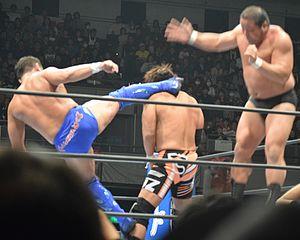 Manabu Nakanishi - Nakanishi and Yuji Nagata double-teaming Satoshi Kojima in February 2016