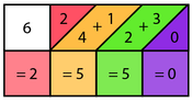 Third step of solving 425 x 6