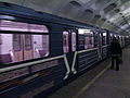 Narodniy opolchenec train at Krasnogvardeyskaya station (Метропоезд Народный ополченец на станции Красногвардейская) (5481224493).jpg