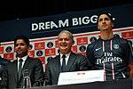 Nasser Al-Khelaïfi, président du Paris Saint-Germain, Thierry Antinori, vice-président exécutif d'Emirates et Zlatan Ibrahimovic.jpg