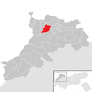 Location of the municipality of Nesselwängle in the Reutte district (clickable map)