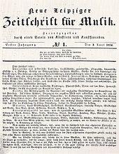 Neue Leipziger Zeitschrift für Musik, Titel des ersten Jahrgangs von 1834 (Quelle: Wikimedia)