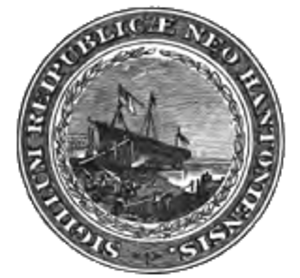 Flag and seal of New Hampshire - 1904 version with image of the Raleigh but still retaining Latin inscription