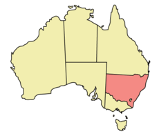 Map of Australia with  New South Wales highlighted
