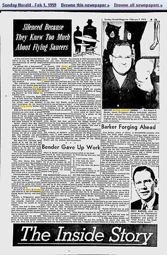 Albert K. Bender - Image: Newspaper Article