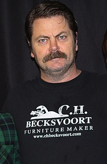 Nick Offerman - the cool, friendly, fun,  actor, comedian,   with German, French, Irish, Scottish, English, Welsh,  roots in 2019
