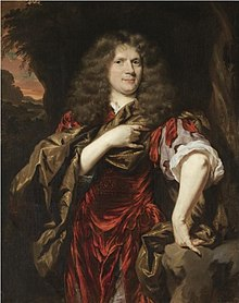 Nicolaes Maes - Portrait of Laurence Hyde, Earl of Rochester, three-quarter length, wearing a red tunic and standing in a landscape.jpeg