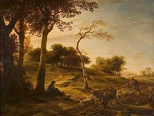 Duinlandschap met bomen, kudde vee en herders