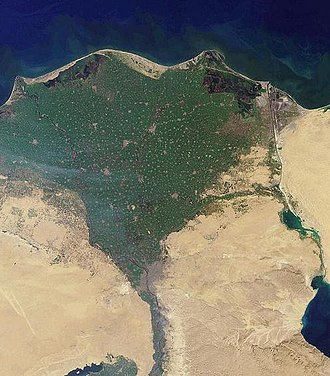 Nile River delta, as seen from Earth orbit. The Nile is an example of a wave-dominated delta that has the classic Greek letter delta (D) shape after which river deltas were named. NileDelta-EO.JPG