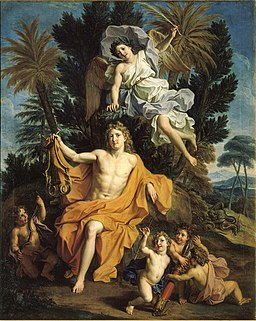 Noël Coypel, Story of Apollo - Apollo Crowned by Victory after Having Slayed Python, 1688