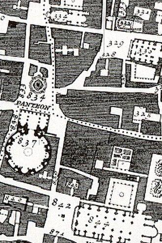 Giambattista Nolli - Detail from the 1748 Nolli map, La Nuova Topografia di Roma, showing: (837) Pantheon, (842) Piazza della Minerva, and the Insula Sapientiae (Island of Wisdom) aka Insula Dominicana including (844) Church and Convent of Santa Maria sopra Minerva and former campus of the Angelicum including (843) Palazzo della Minerva c. 1560 (now Bibliotecca del Senato of the Italian government), Guidetti Cloister c. 1565 (nearest to Church), Cisterna Cloister,Sala del Refettorio, Sale dell'Inquisizione, and Sala delle Capriate, former Angelicum library, on the second floor between cloisters.