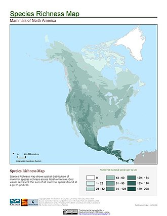 Species distribution - Image: North America mammals
