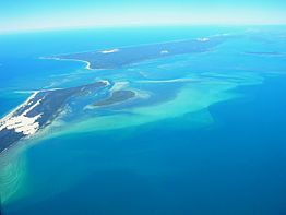 Moreton Island and North Stradbroke Island from the air