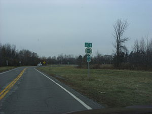 New York State Route 19 - Approaching the north end of NY 19 at the Lake Ontario State Parkway in Hamlin