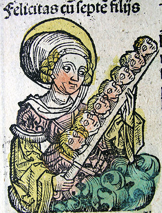 Felicitas of Rome - St. Felicitas and the heads of her seven sons, from the Nuremburg Chronicle, 1493.