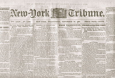 The Tribune was the leading newspaper in the era of the Civil War Nytrib1864.jpg