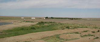 Agriculture in Mongolia - Oasis Dal in Ömnögovi Province.