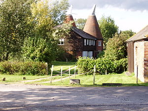 Functionally classified barn - An Oast house, a conical, pyramid hop house in Kent.